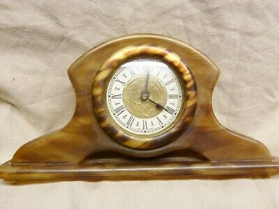 lovely art deco mantel /desk clock plastic tortoiseshell oiled working jazz age