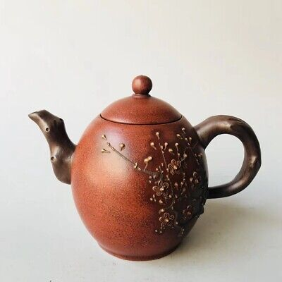 Chinese Exquisite Yixing Zisha Teapot Handmade Carved Flower 300CC ZSH64