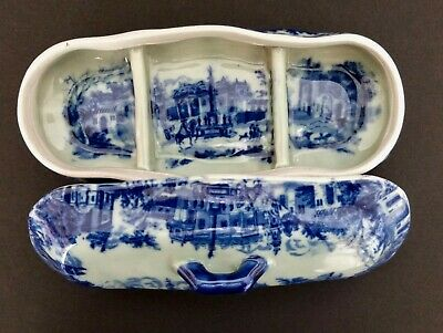 Vintage Flow Blue Ironstone Toothbrush Or Razor Holder Box By Victoria Ware