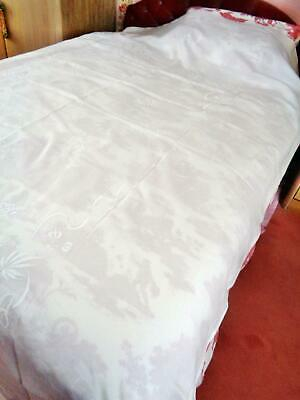An Excellent Heavy Irish Linen Classic Antique Bedspread, Whitework & Drn Thread