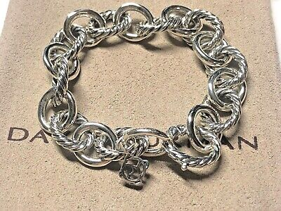 David Yurman Sterling Silver Large Oval Cable Link Chain Bracelet 12mm