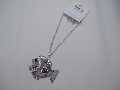 Antique Silver Coloured Chain With Beautiful Angel Fish Pendant Coloured Stones