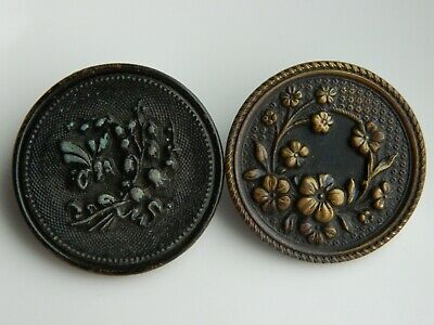 LOT of 2 Large ANTIQUE VICTORIAN Vintage Metal Picture BUTTONS Flowers Honey Bee