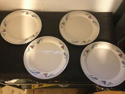 4 Lenox Poppies On Blue Chinastone 10 3/4 Inch Dinner Plates