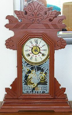 Antique Victorian Wood Kitchen Mantel Alarm Clock Chimes Portugal Gingerbread
