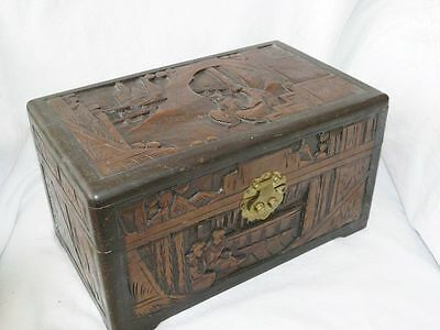 Antique High Relief Deep Hand Carved Chinese Asian Camphor Wood Wooden Box Chest