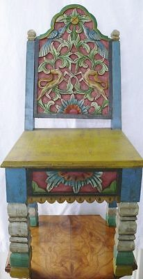 Antique 19th Century Hand Carved Painted Chinese Childs Chair Floral Bird Fox