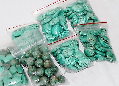 Lot of 140 Howlite Turquoise Loose Stones Beads Round Oval Natural Mix Assorted