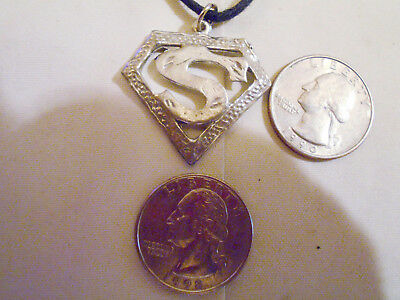 bling PEWTER vintage superman letter S MYTH pendant charm necklace JEWELRY HERO