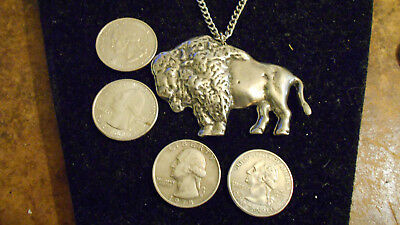 bling PEWTER wild buffalo mascot charm chain hip hop necklace FASHION JEWELRY