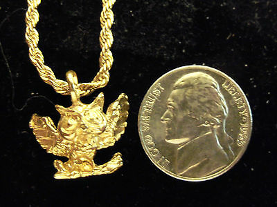 bling gold plated owl bird FASHION pendant charm hip hop necklace JEWELRY GP DIY