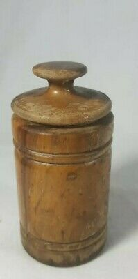 Antique Hand Carved Turned Wood Snuff Box ROund Barrel Style Treenware 1880-1900