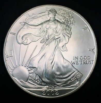 2002 Silver American Eagle BU 1 oz US $1 Dollar Mint Brilliant Uncirculated *002