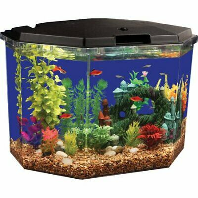 Fish Tank Aquarium 6.5 Gallon Clear Acrylic Terrarium Home with LED Lighting 👍