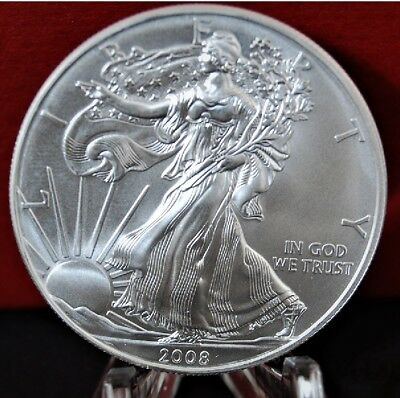 2008 Silver American Eagle BU 1 oz US $1 Dollar Mint Uncirculated Brilliant *008