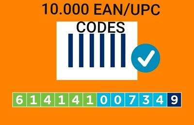 10.000 EAN Amazon Numbers Barcodes Bar Code Gs1 EAN Amazon Lifetime Guarantee