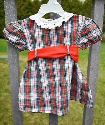 1a0361e05193d Vintage 1960's Nannette Infant Girls Red & Green Plaid Dress Size 12 Months