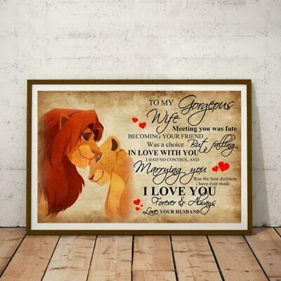 Disney The Lion King Mufasa To My Gorgeous Wife I Love You Paper Poster No Frame