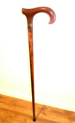 """Wooden Walking Stick Derby Handle Cane Brown Wood Mobility Stick AID 36 1/2"""""""
