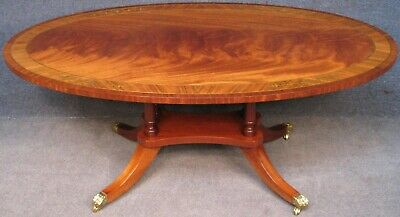 Regency Style Brass Inlaid Flame Mahogany Oval Coffee Table