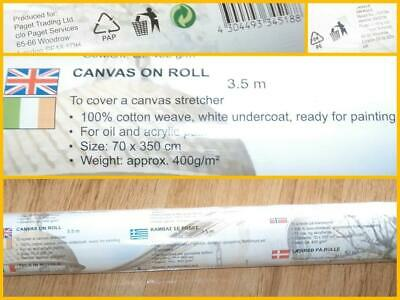 Artist Canvas Roll 3.5m Cotton Weave White Undercoat By Paget Trading 400gsm New