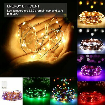 20/30/100 LED Fairy String Lights Battery Powered Mains Micro Wire Xmas Decor