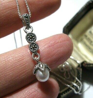 Vintage Art Deco Style Sterling Silver Marcasite Real PEARL Pendant Necklace