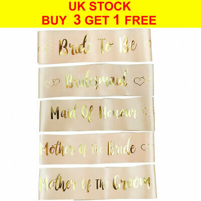 Rose Gold Hen Party Sashes Bride To Be Bridesmaid Satin Sash Wedding Hen Do Sash