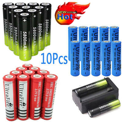 10pcs 6000mAh Batteries 18650 3.7V Rechargeable Battery+Smart Charger Ultrafire