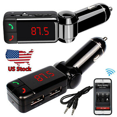 Dual USB Car Kit Charger Wireless Bluetooth Stereo MP3 Player FM Transmitter US