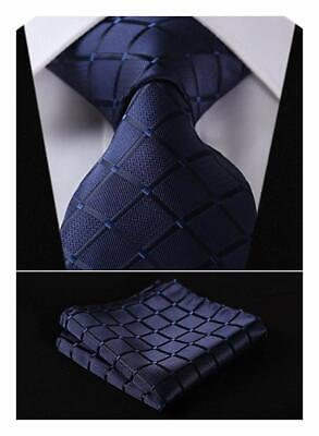 HISDERN Plaid Tie Handkerchief Woven Classic Stripe Men's Necktie