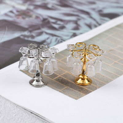 1 Set metal cup holder with 4 wine glasses dollhouse miniature accessories YJ