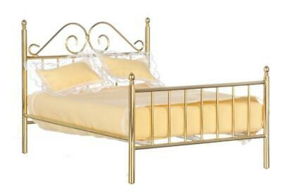 Dolls House Brass Double Bed & Bedding Miniature 1:12 Scale Bedroom Furniture