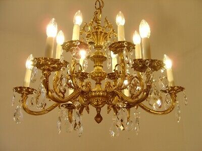 gold bronze crystal chandelier fixtures ceiling lamp 12 light lustre used old
