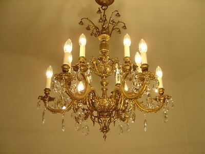 Amazing Old French Brass And Crystal Chandelier Silver Crown 12 L