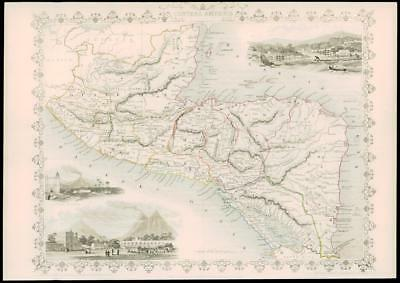 "1850 Original Antique Map - ""CENTRAL AMERICA"" BELIZE HONDURAS GUATEMALA (dw15)"