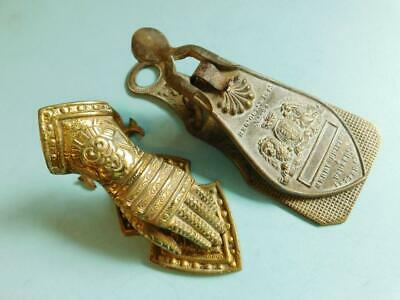2x Victorian Brass Paper Letter Clips The Merry Phipson Parker & Armoral Glove