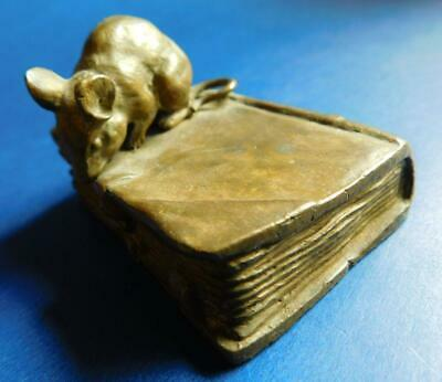 Miniature Bronze Antique Cabinet Ornament Mouse on Book 1900s French?