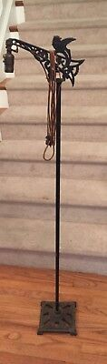 "Vintage 1920's Antique Cast Iron BIRD Arm Floor Lamp Working 55"" tall, base 8"""
