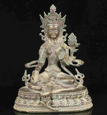 China Old Collectible Handwork Casting Carving Bronze Tibetan Buddhist Statue