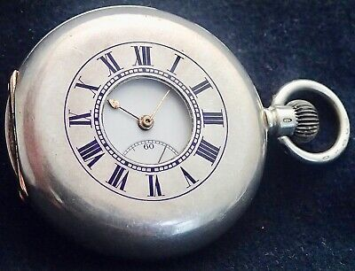 LONGINES Solid Silver HALF HUNTER  Pocket Watch Gold Hinges Working London 1910