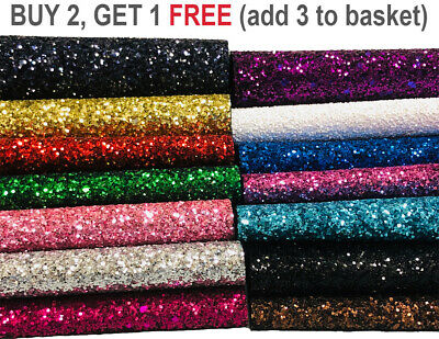 Premium Chunky Glitter Fabric Sparkly A4 A5 Sheet Vinyl Craft Bag Wall Decor Bow