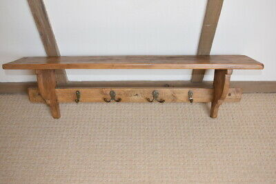Lovely old rustic hall shelf with coat hooks