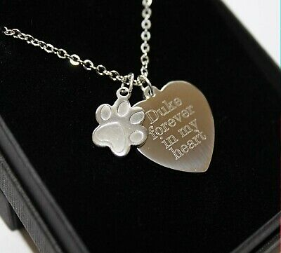 Personalised Pet Loss Memorial Necklace Pendant FREE Engraving Remembrance Gifts