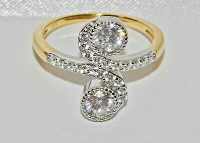 9CT YELLOW GOLD & SILVER ART DECO STYLE COCKTAIL DOUBLE SOLITAIRE RING - size J