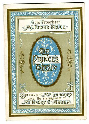 Theater Programme Lily Langtry Actress The Princes Theatre