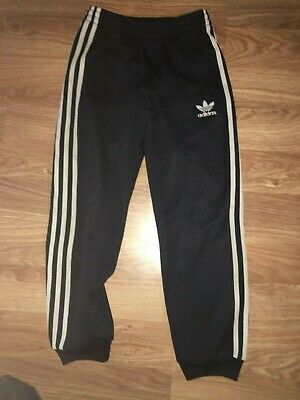 Adidas Boys 9-10 Years Blue Tracksuit Pants/Trousers/Bottoms (Ex Cond)