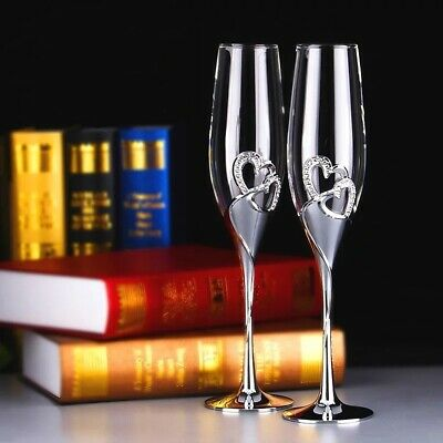 2 pcs champagne glasses Crystal Glass Hand Etched Decoration Cup Wine  Gift box