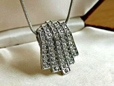 Vintage Jewellery lovely silver & crystal Art Deco pendant & chain necklace