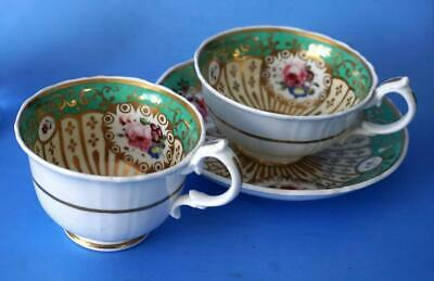 Antique British Porcelain Pair of Cups and Saucer
